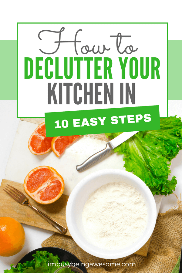 Are you looking for tips to declutter your kitchen? Here is my list of 10 ideas to declutter and organize your countertops, cabinets, appliances, drawers, Cupboards, and pantry. Grab your checklist and learn how to declutter your kitchen today! #declutter #kitchen #organization #tipsandtricks