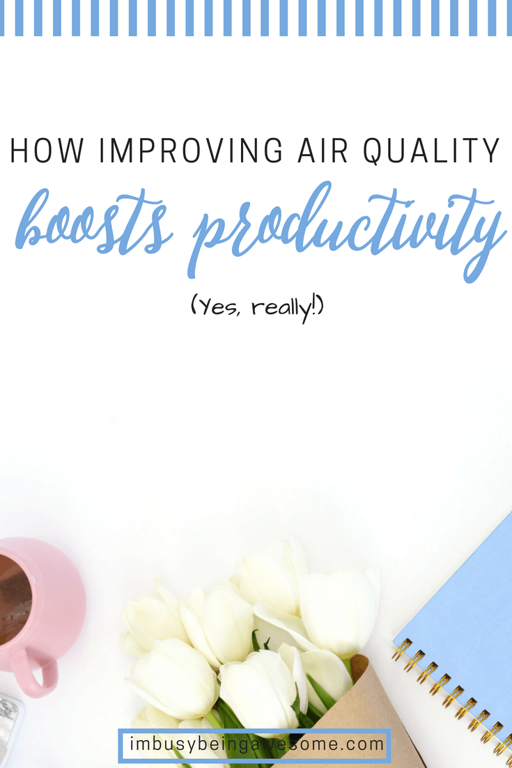 Improve Indoor Air Quality And Increase Productivity Clean air at work, improve air quality at work, air quality and productivity, productivity tips, workplace productivity, workplace air quality, testing air quality, #productivity #productivitytips #airquality #healthyliving