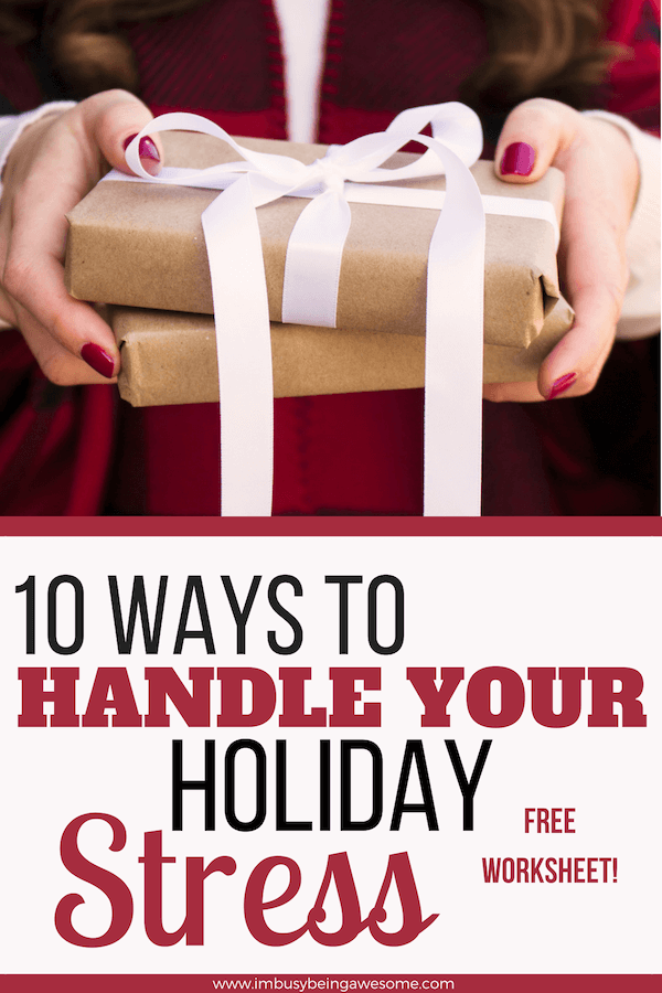Holiday Stress: How to Enjoy the Season with 10 Simple Tips Are you looking for tips for managing your holiday stress? Do you need stress relief from the crazy demands of the Thanksgiving, Hanukkah, and Christmas seasons? Do you want simple strategies to get relief from the overwhelm of gift giving, entertaining, and holiday parties? Then this post is for you, my friend. #holidays #stress #tipsandtricks #mentalhealth #christmas #entertaining #thanksgiving #hostess