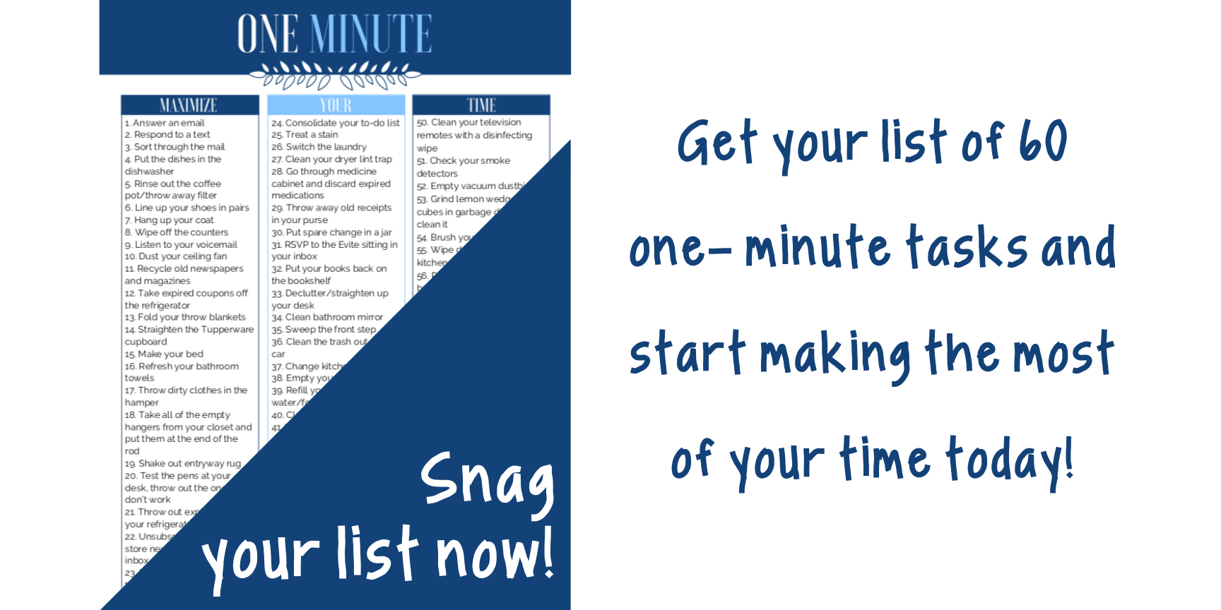 Grab your list of one-minute tasks now!